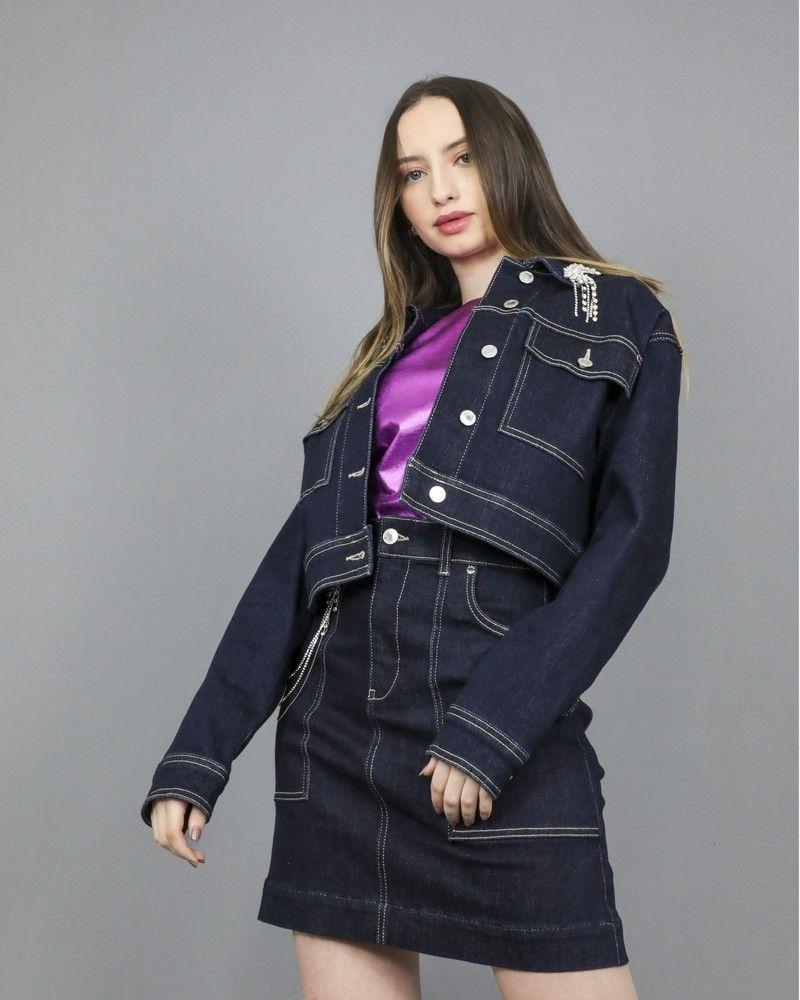 Veste jeans raccourcie agrémentée de cristaux scintillant de strass Guess