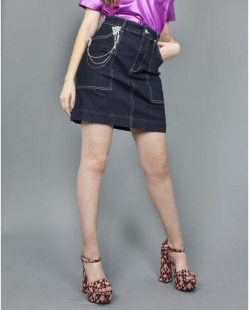 Jupe jeans trapèze agrémentée de cristaux scintillant de strass Guess