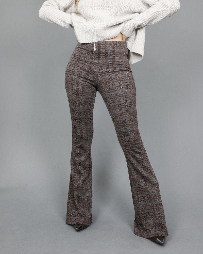 Pantalon évasé à carreaux fils métallisé Space Simona Corsellini