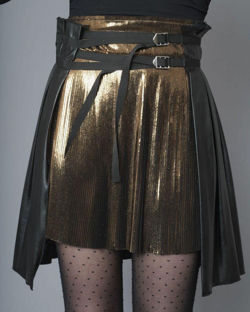 Jupe à plis en cuir synthétique et empiècement métallique Jijil