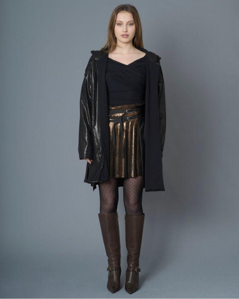Manteau en coton noir à capuche Jijil