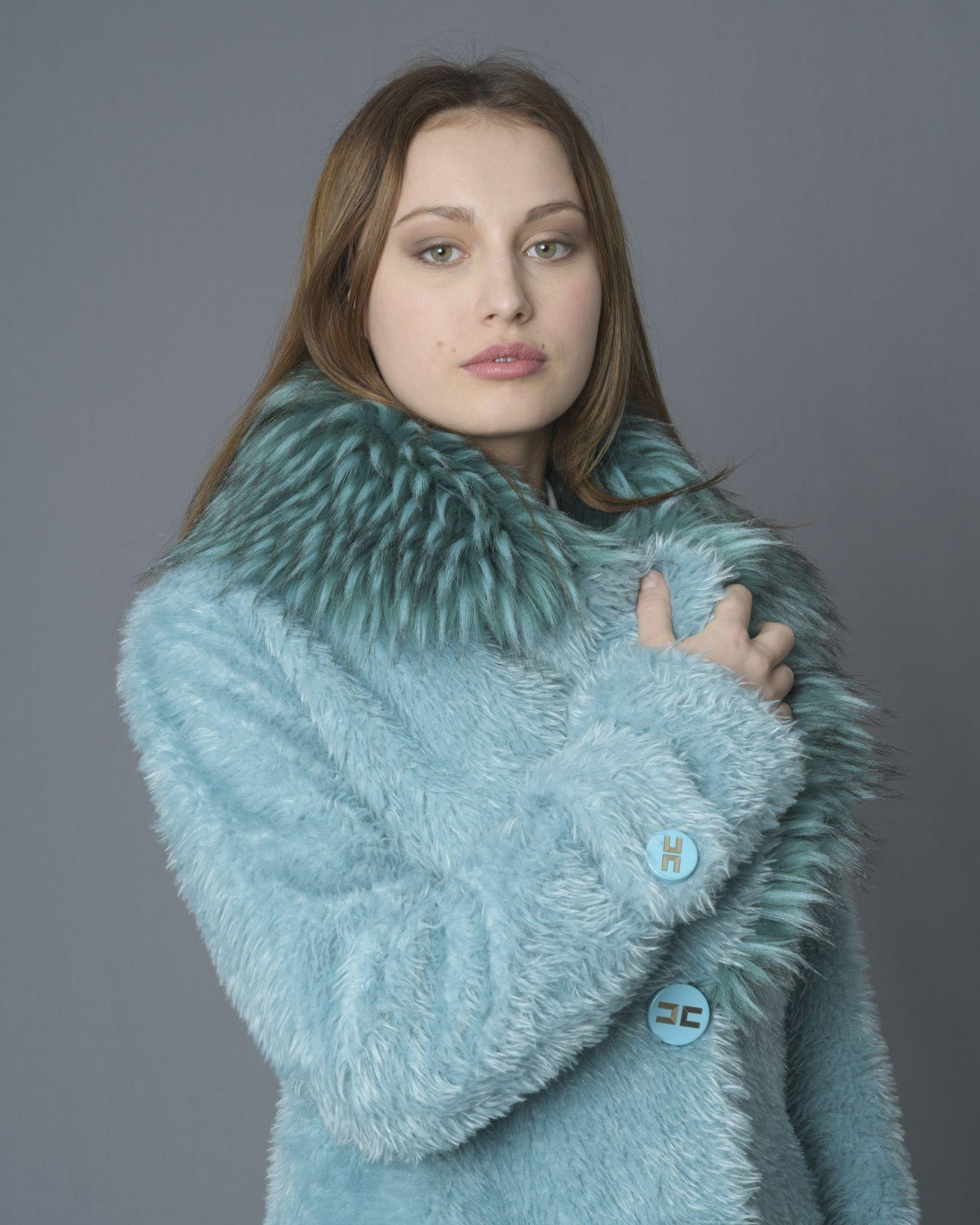 Manteau bleu canard en fourrure synthétique bleu Elisabetta Franchi
