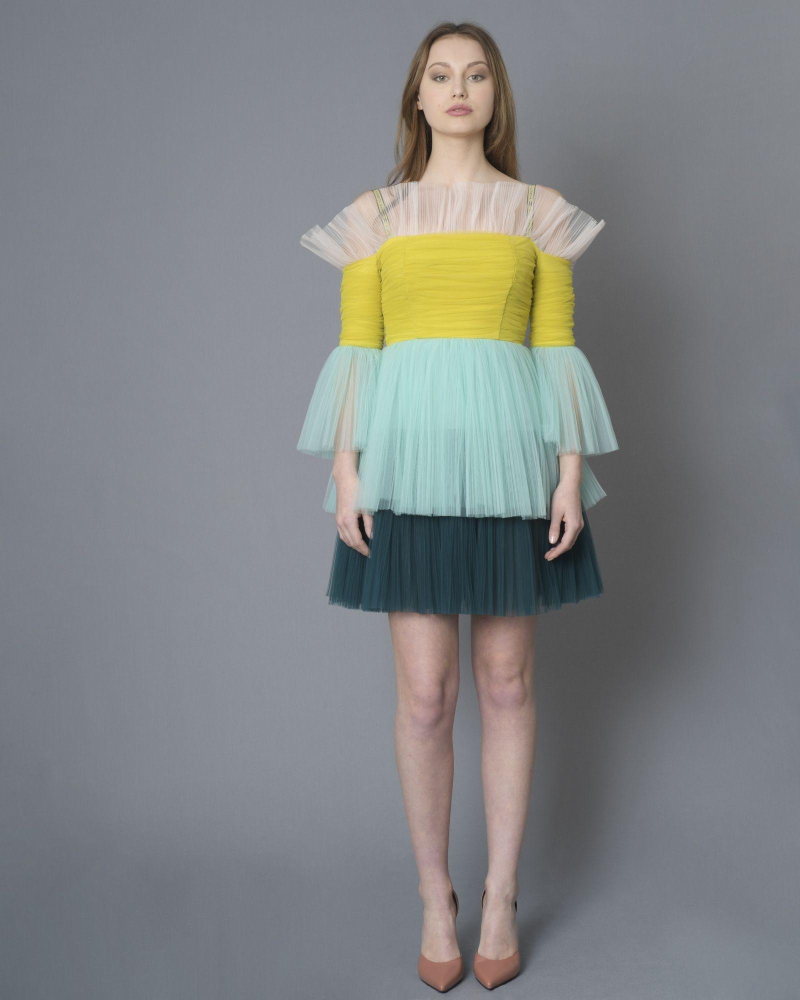 Robe en tulle à volants multicolore Elisabetta Franchi