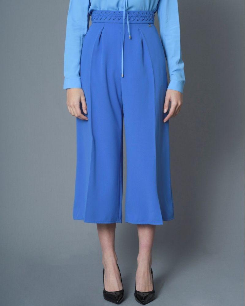 Pantalon bleu taille haute à plis Elisabetta Franchi