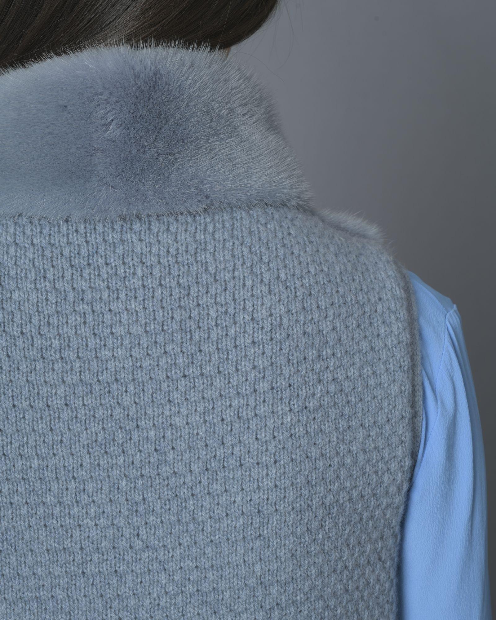Veste bleu sans manche en fourrure Vison et en laine mélangée manzoni 24