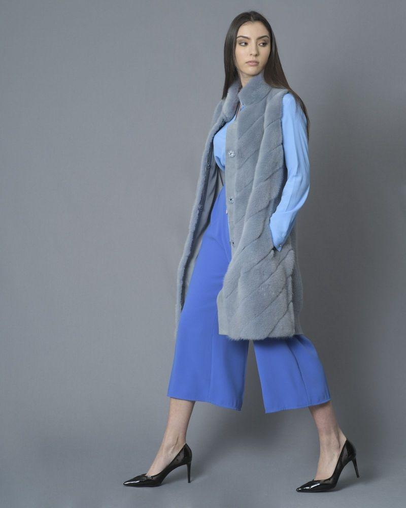 Veste bleu sans manches en fourrure Vison et en laine mélangée manzoni 24