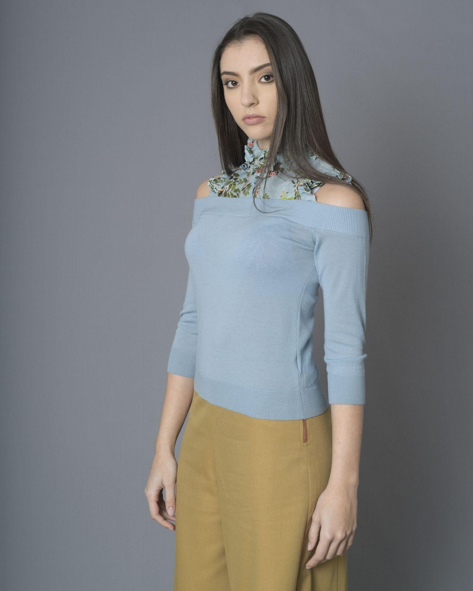 Pull bleu en laine à empiècement Elisabetta Franchi