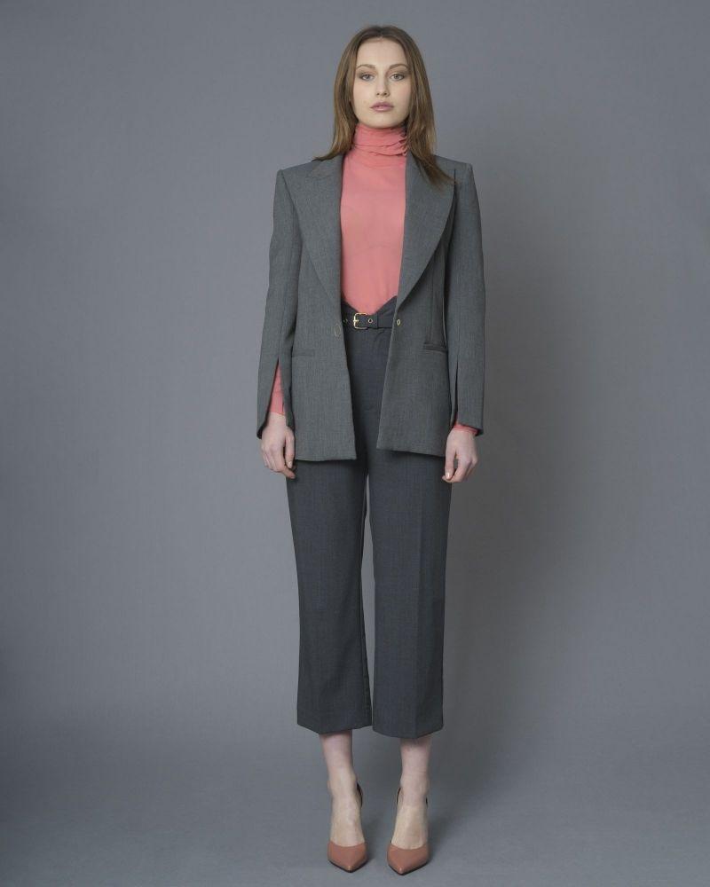 Pantalon gris en laine mélangée à ceinture Space Simona Corsellini