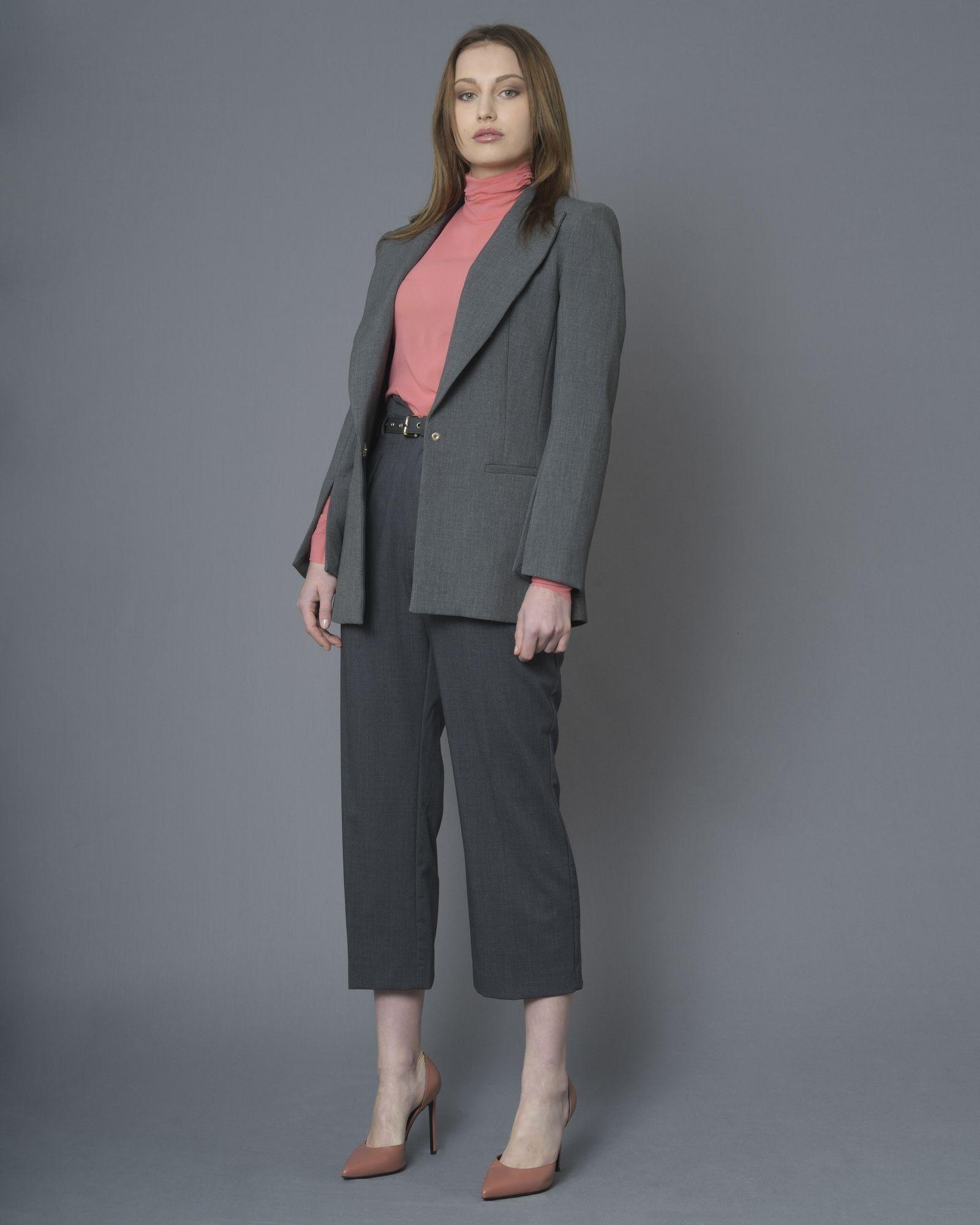 Pantalon gris en laine mélangé à ceinture Space Simona Corsellini