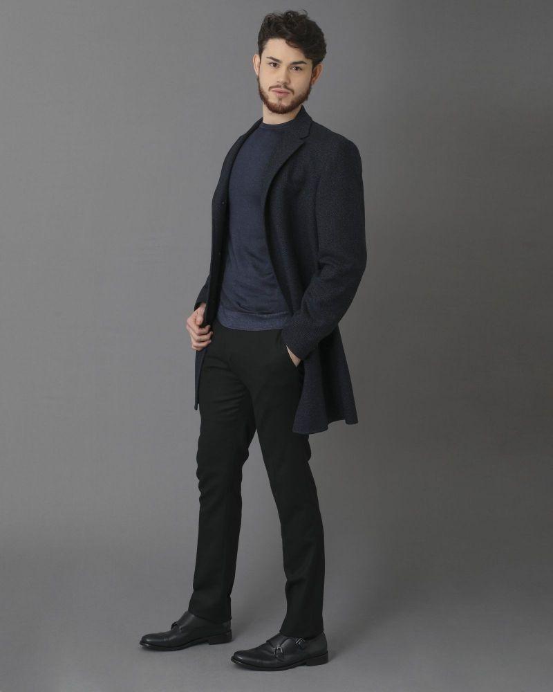 Manteau bleu en laine à imprimé chevron Nino Danieli
