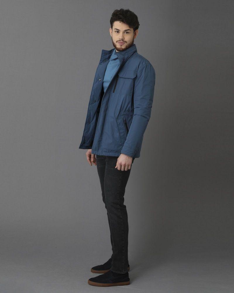 Blouson bleu en tissu technique à sept poches Pal Zileri