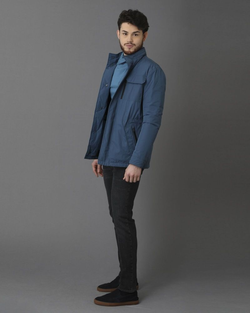 Pull 100% cachemire bleu à col zippé Dolce & Gabbana