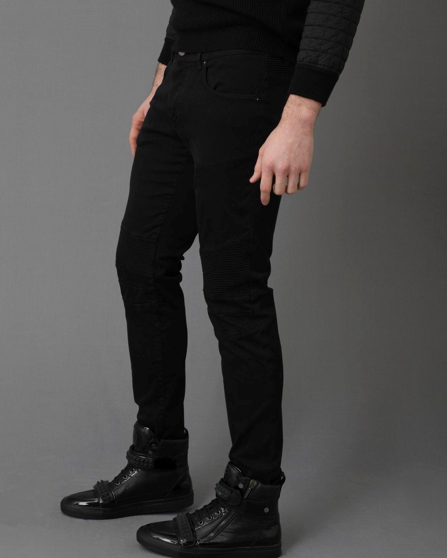 Jean style motard noir