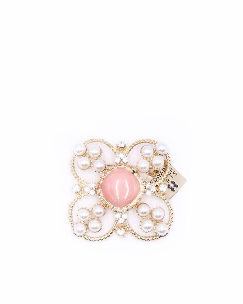 Broche doré perle blanche et rose Edward Achour