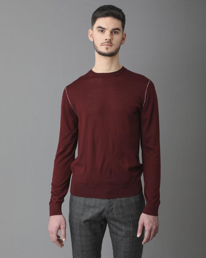 Pull en laine bordeaux à détails épaules Archive 18-20