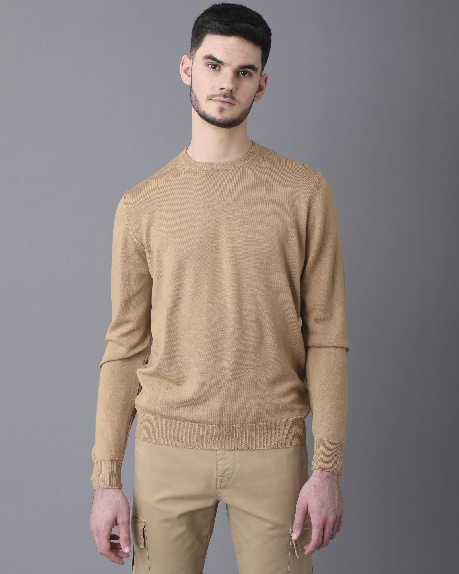 Pull col rond beige Casheart