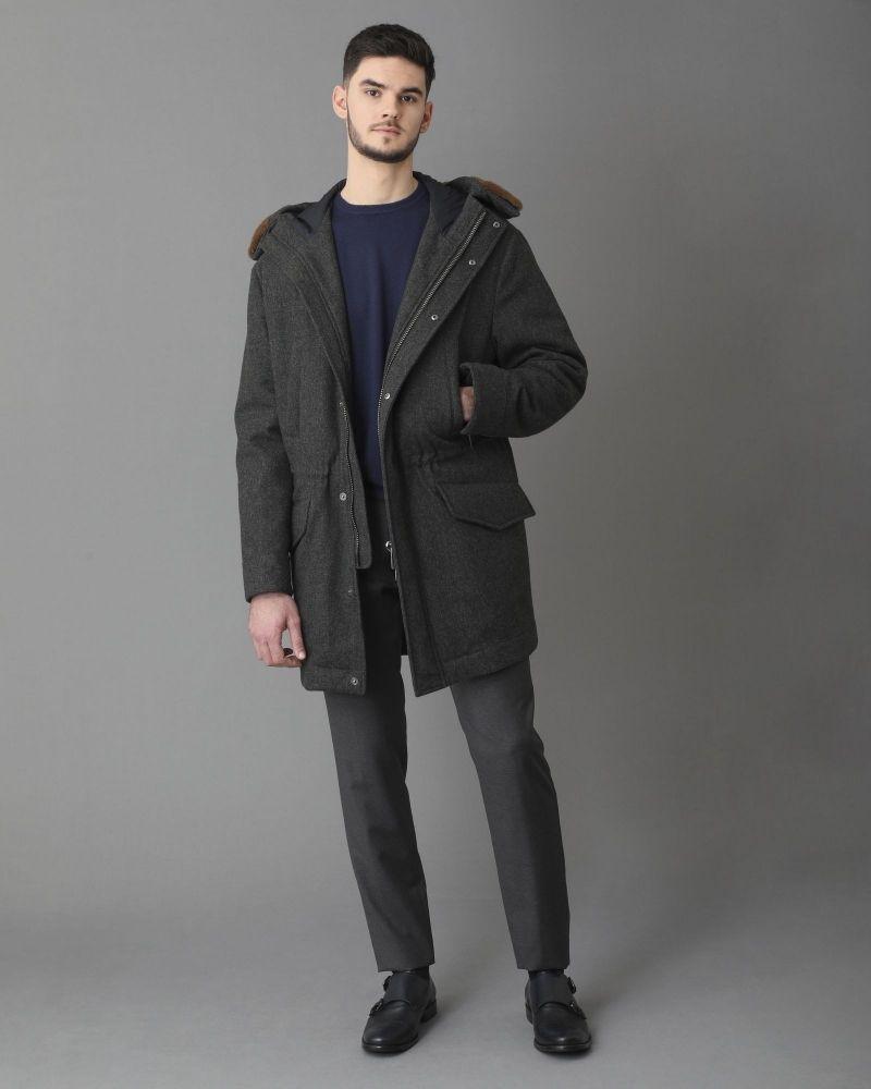 Manteau en laine grise fourré à capuche Pal Zileri