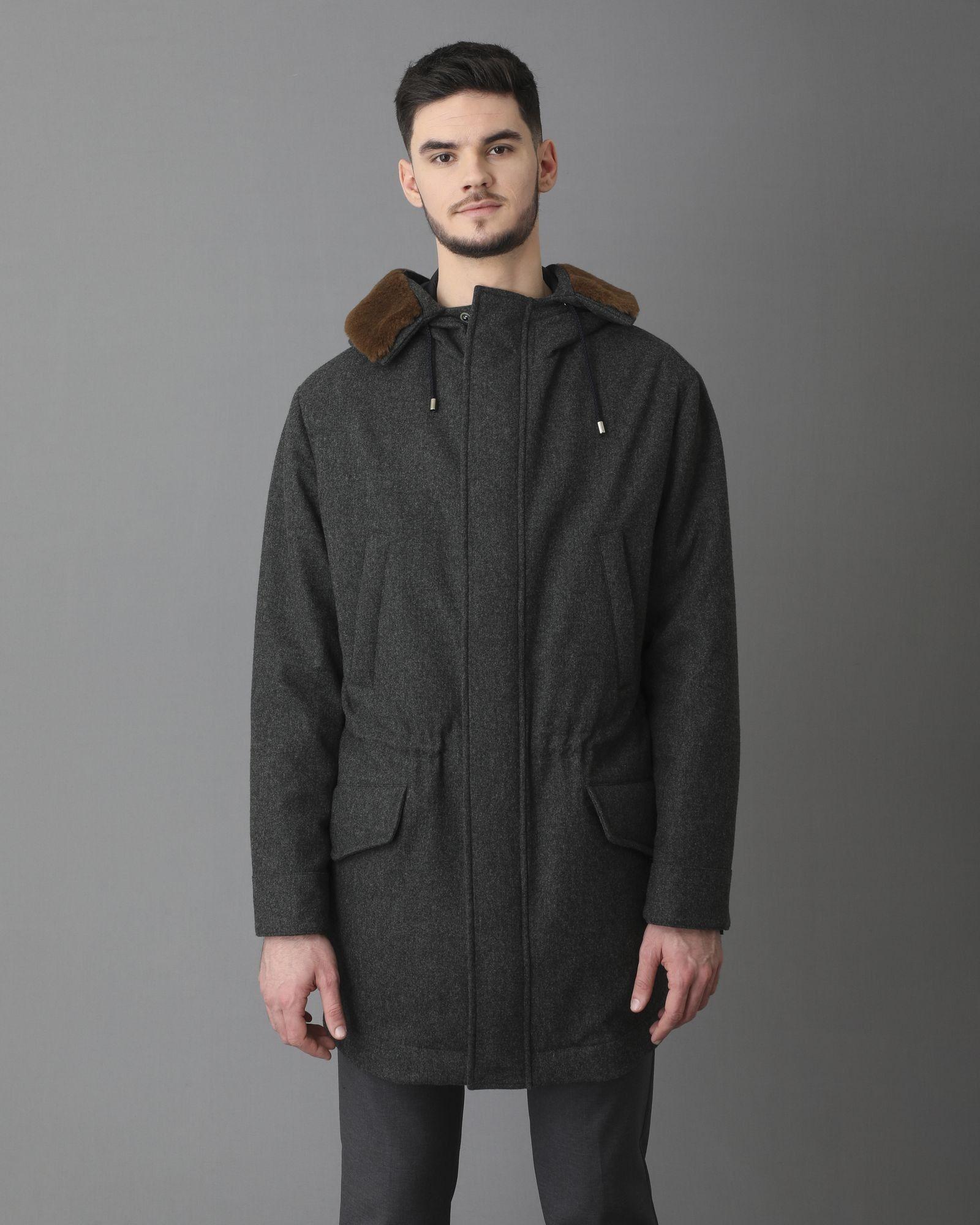 Manteau fourré à capuche marron Pal Zileri