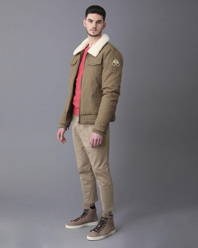 Blouson en jean kaki à finitions en peau lainée synthétique Moose Knuckles