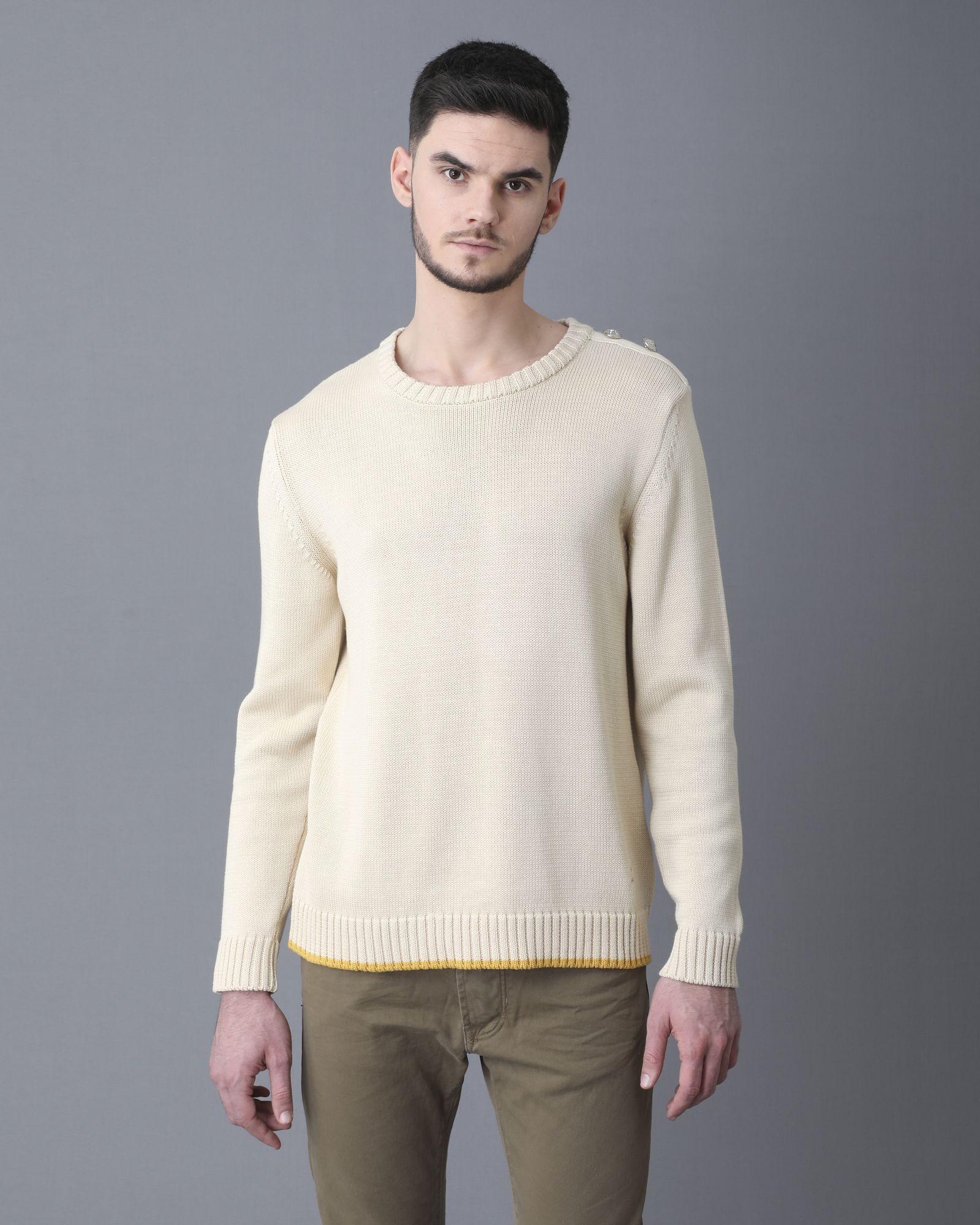 Pull blanc ecru avec bande jaune et boutons JC De Castelbajac
