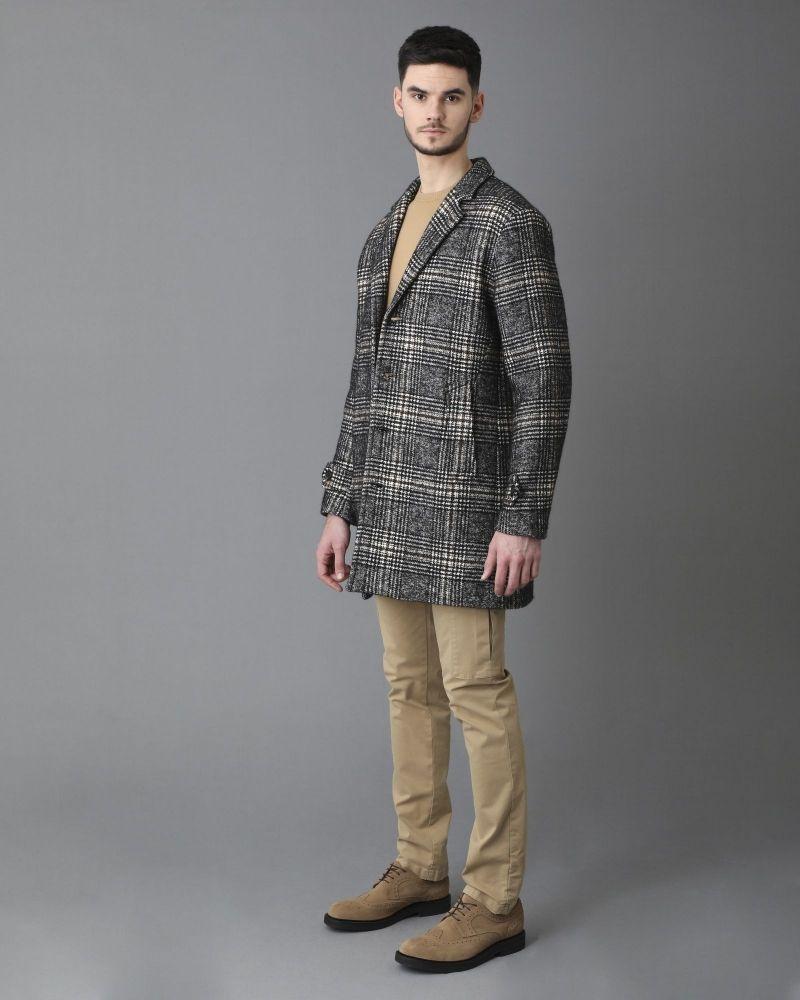 Manteau en coton mélangé à motif à carreaux Palto