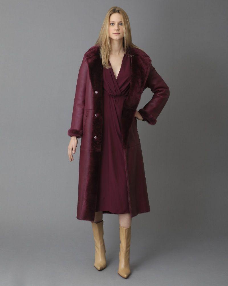 Manteau en cuir réversible en peau lainée Arma