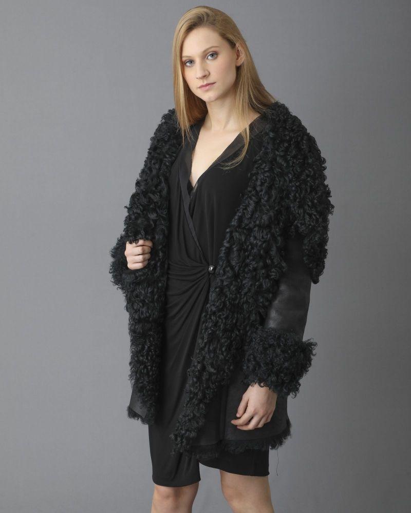 Manteau en peau lainée à col châle oversize Plein Sud