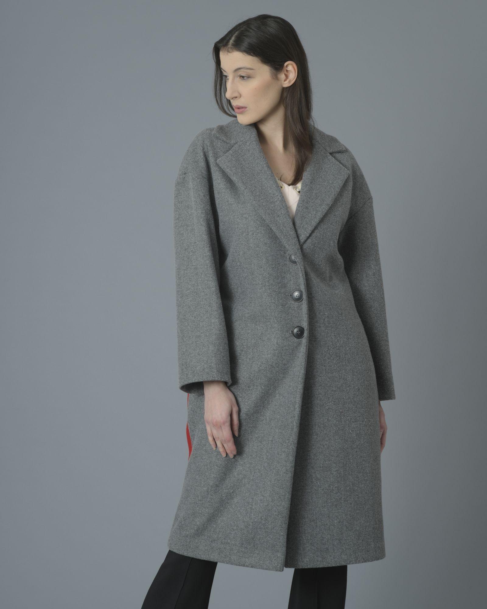 Manteau gris arrière tricolore gris beige rouge Space Simona Corsellini