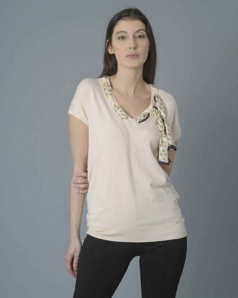 T-shirt Rose col V noué soie Nenette