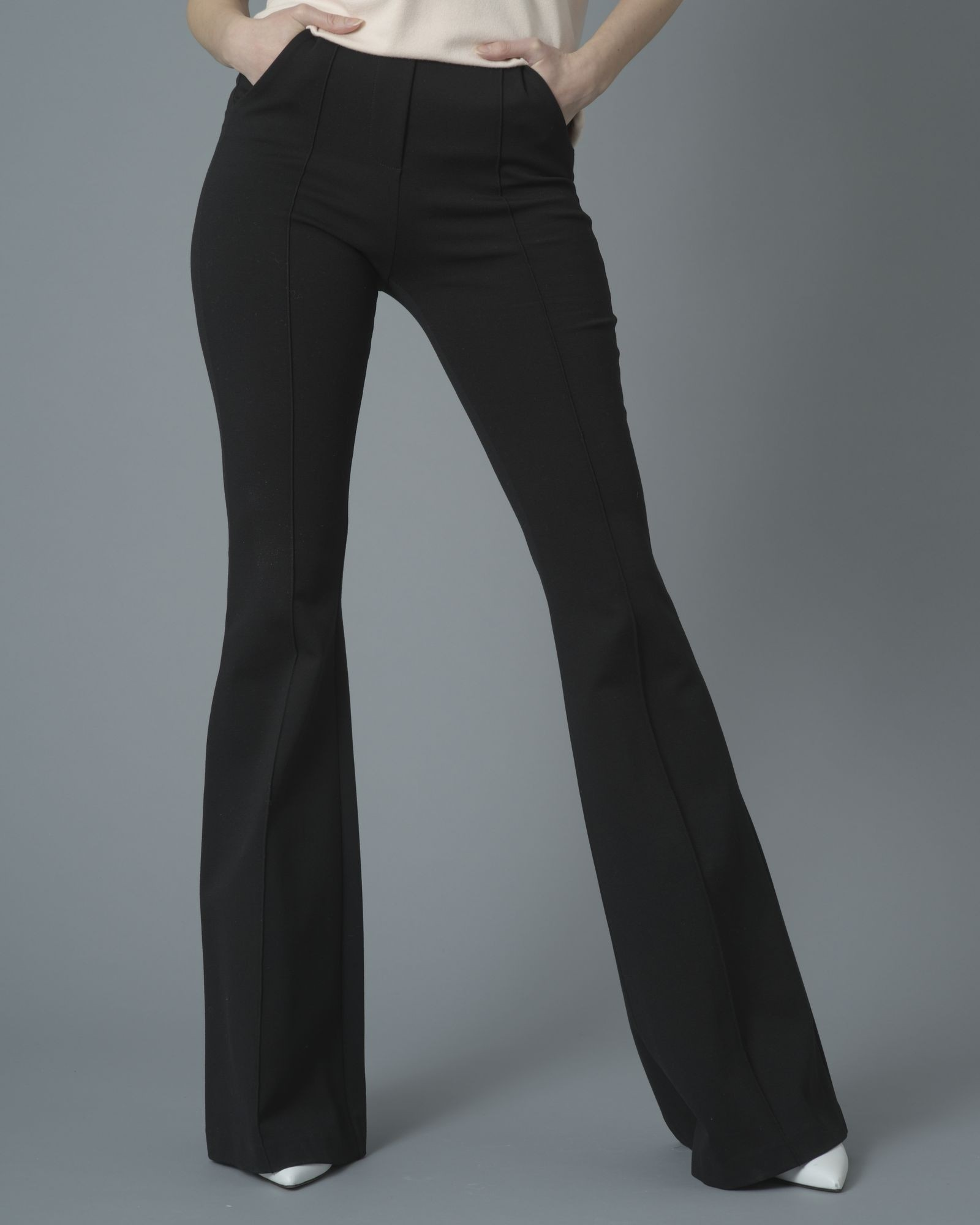 Pantalon évasé noir bande en cuir Space Simona Corsellini