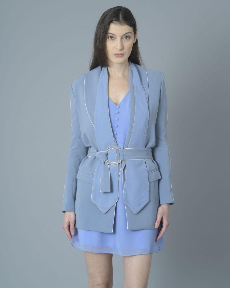 Veste smoké bleu avec ceinture Elisabetta Franchi