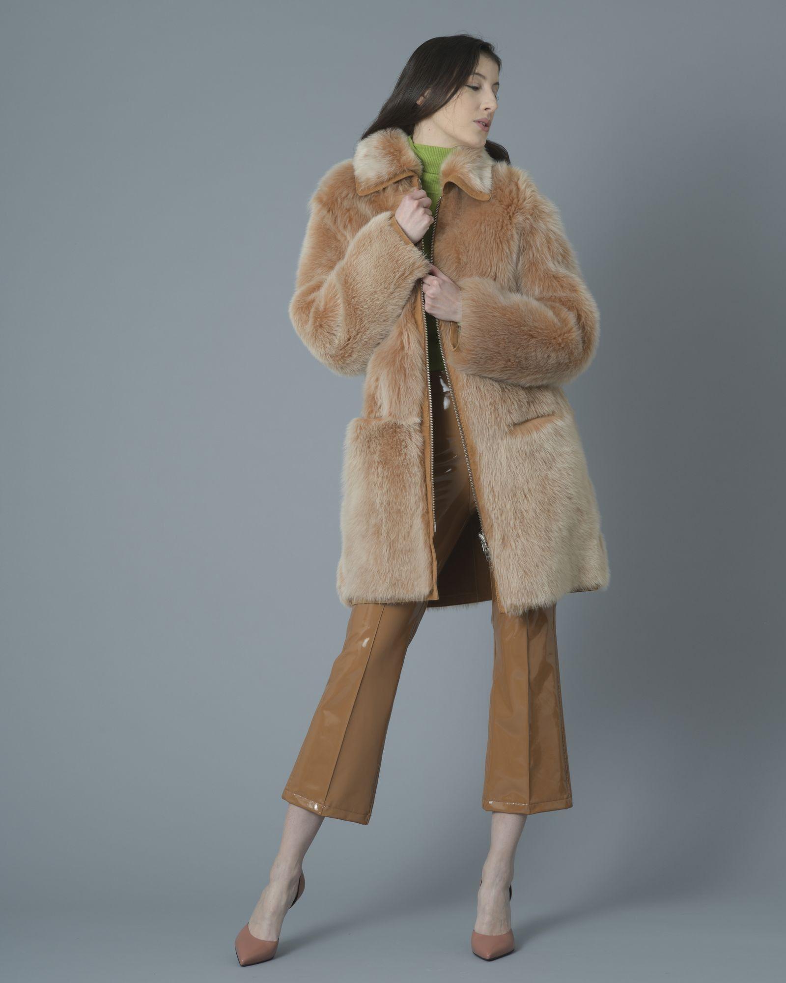 Manteau mi-long fourrure camel interieur cuir d'agneau Dondup
