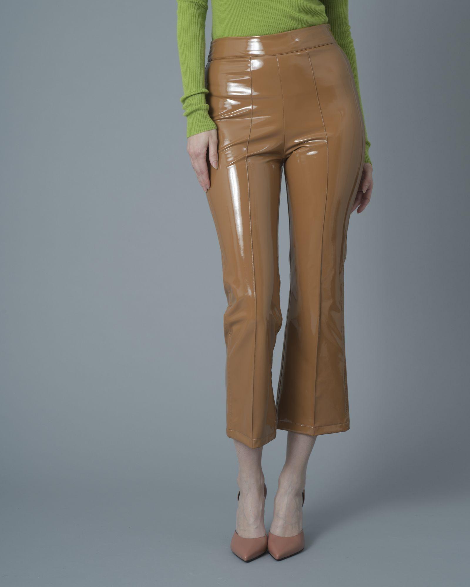 Pantalon évasé simili cuir camel Jijil
