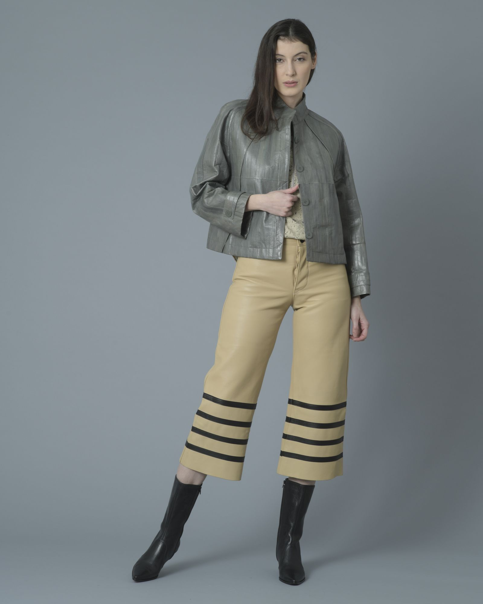 Pantalon en cuir beige Each Other