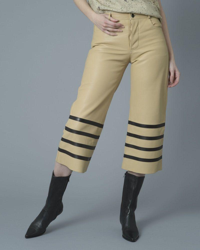 Pantalon en cuir beige Each Other