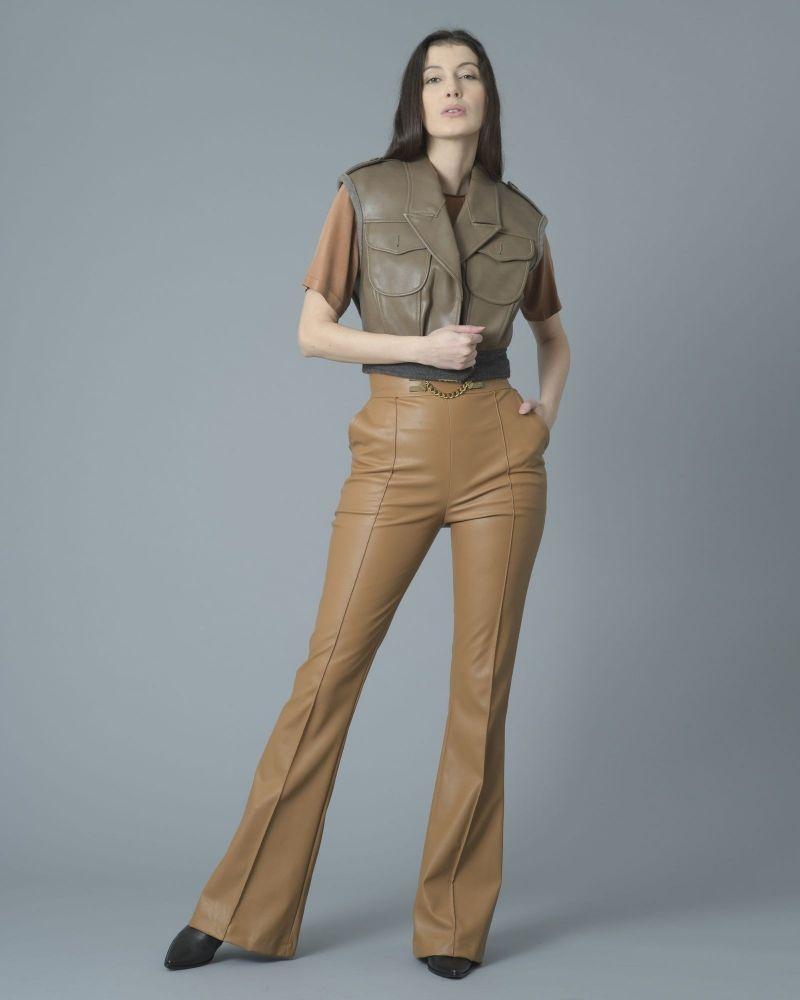 Pantalon évasé en cuir synthétique à chaîne Elisabetta Franchi