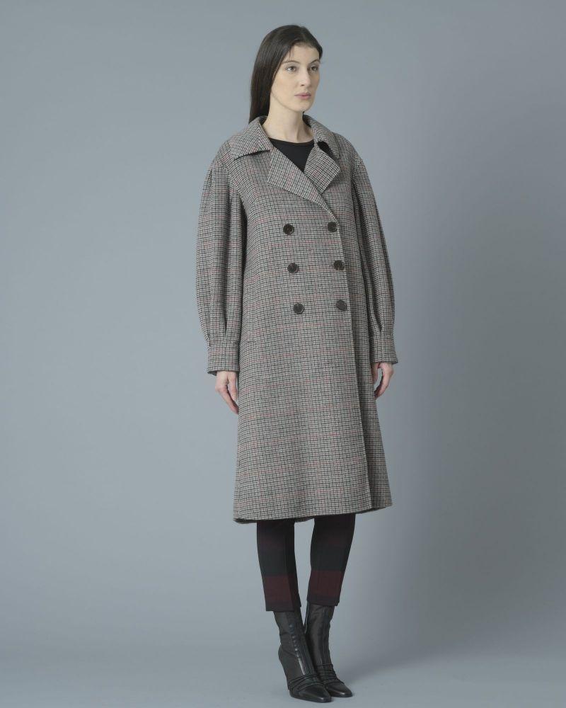 Manteau en laine mélangée pied-de-poule Isabelle Blanche