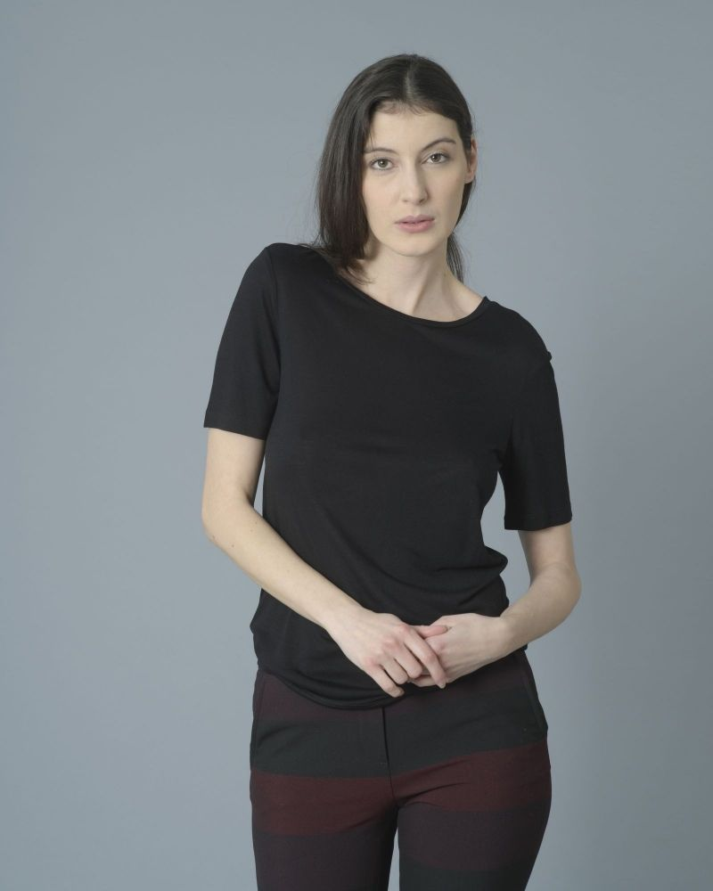T-shirt noir fluide col rond One & Other