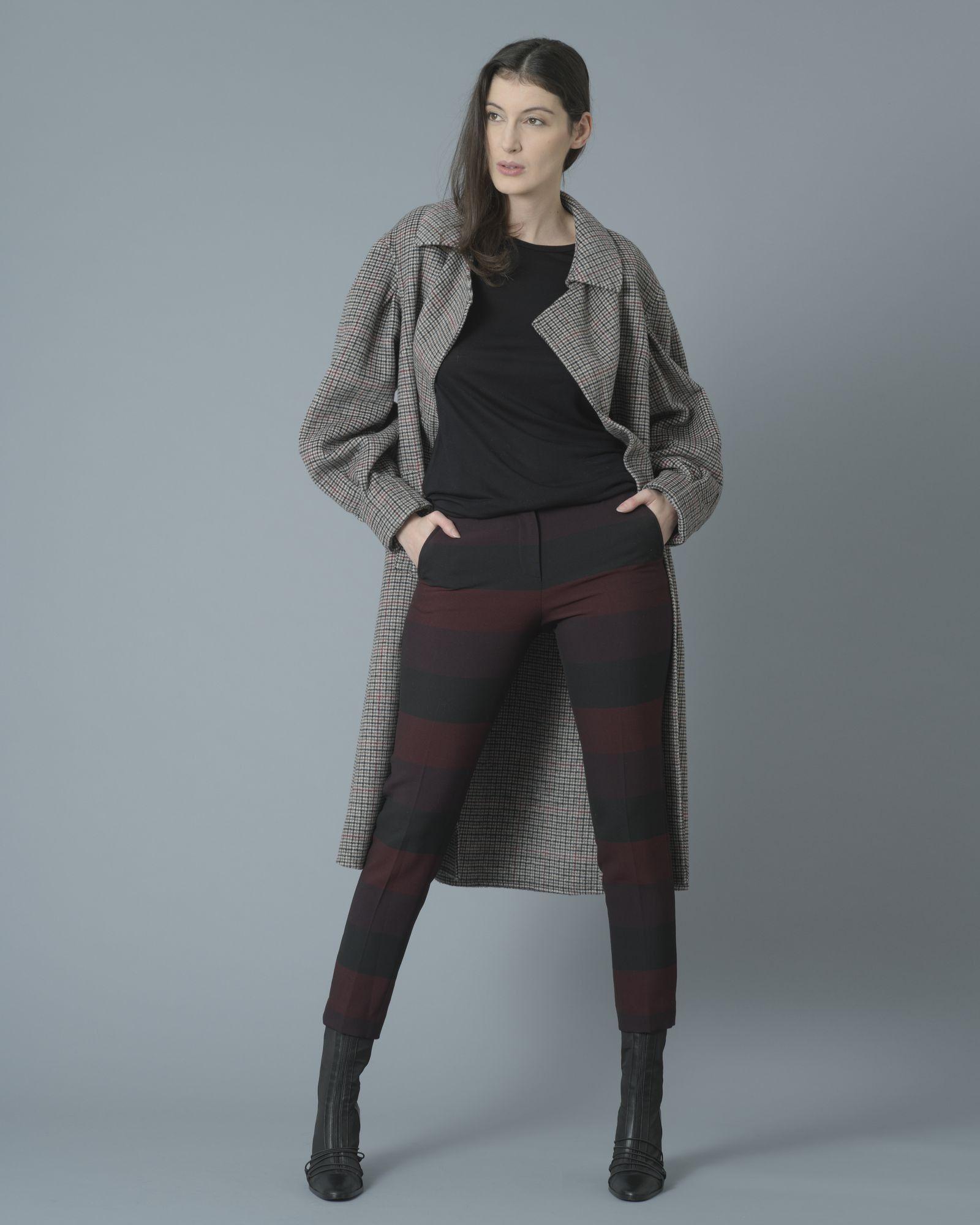 Pantalon cigarette bicolore rayé noir et bordeaux Space Simona Corsellini