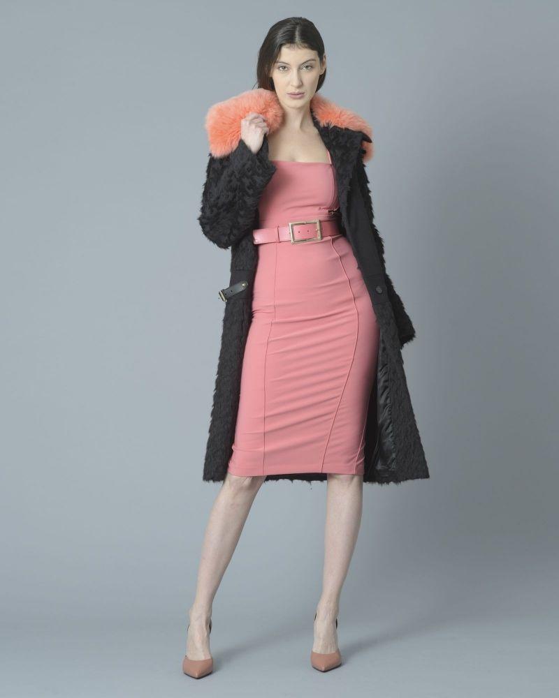 Manteau en coton et laine mélangée à col en peau lainée amovible Roberto Cavalli