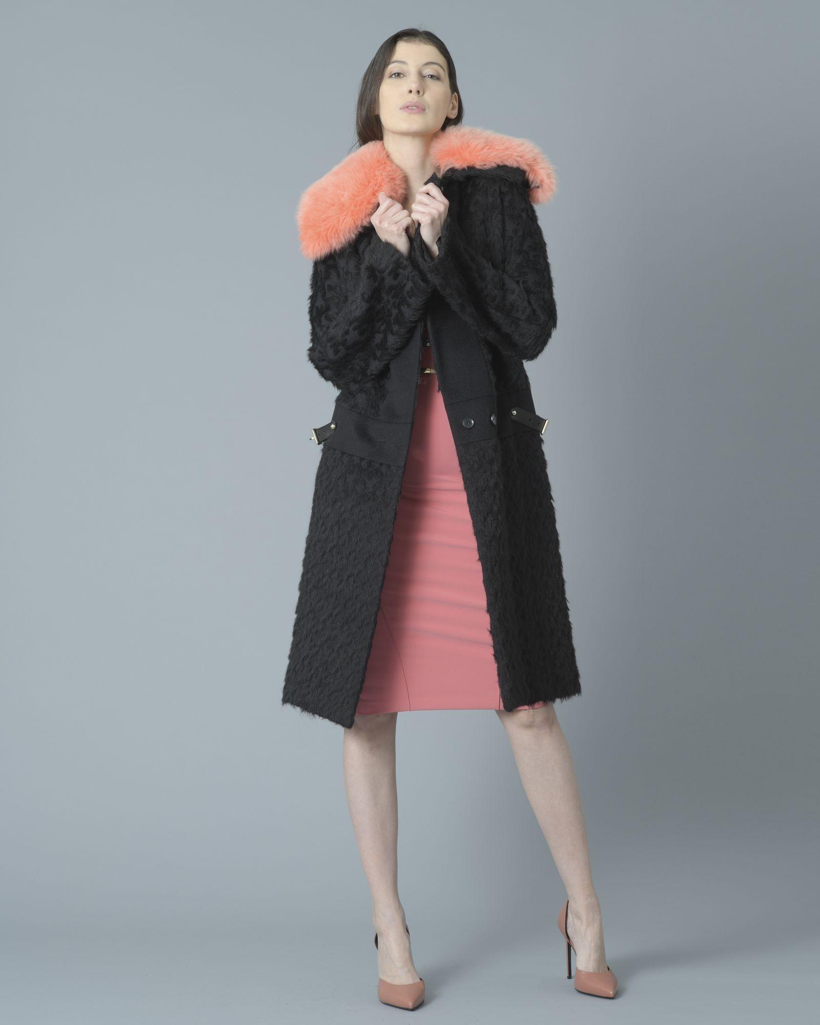Manteau long noir col rose Roberto Cavalli