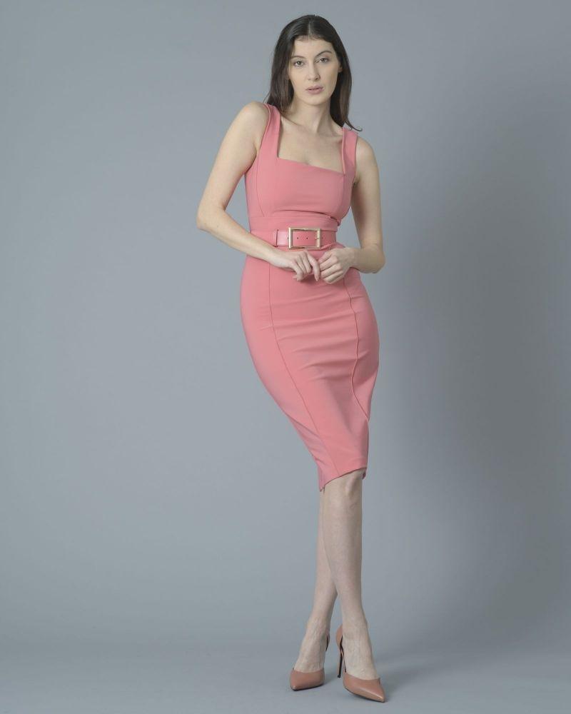 Robe à fourreau rose avec ceinture Elisabetta Franchi