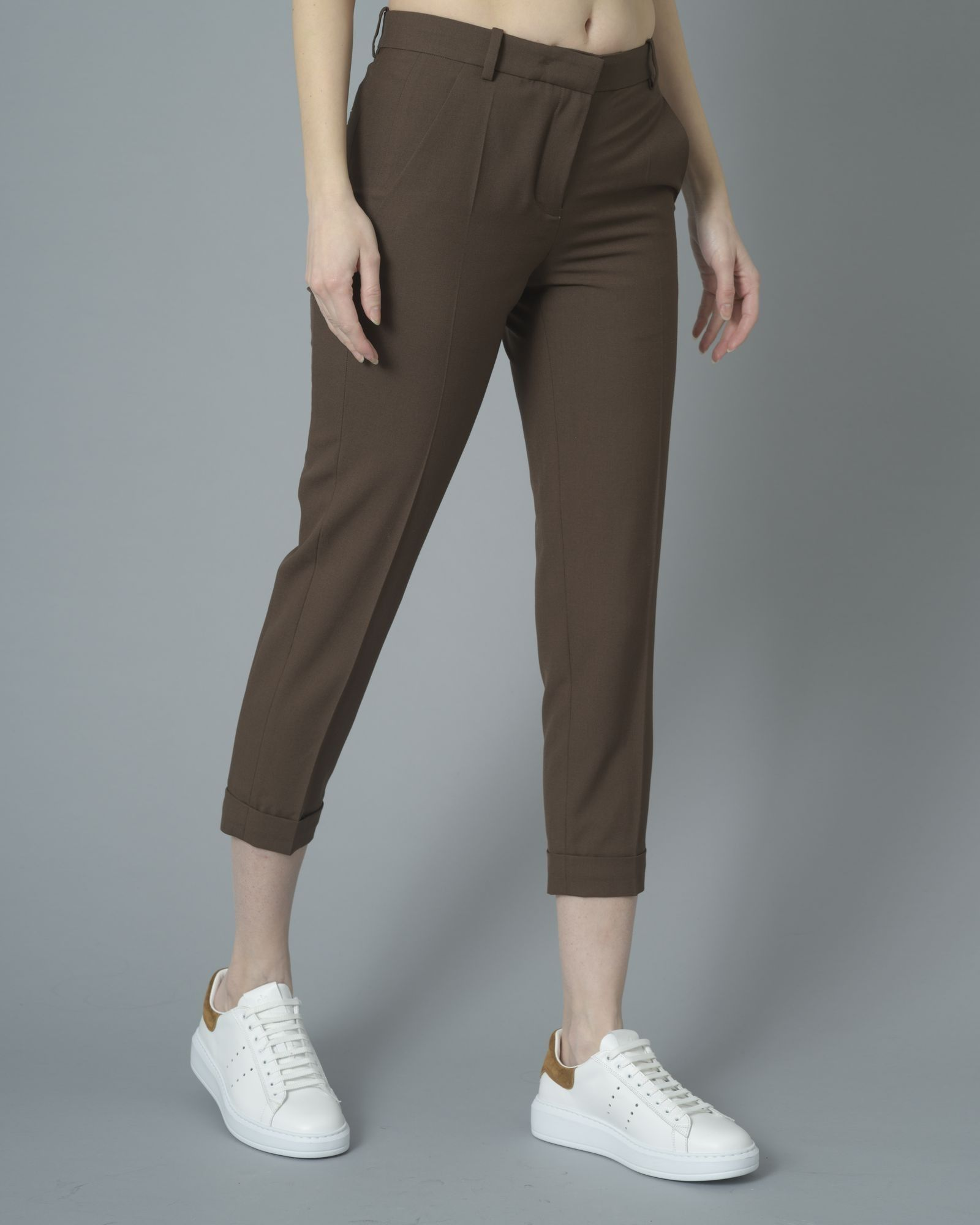 Pantalon droit 7/8 marron Carven