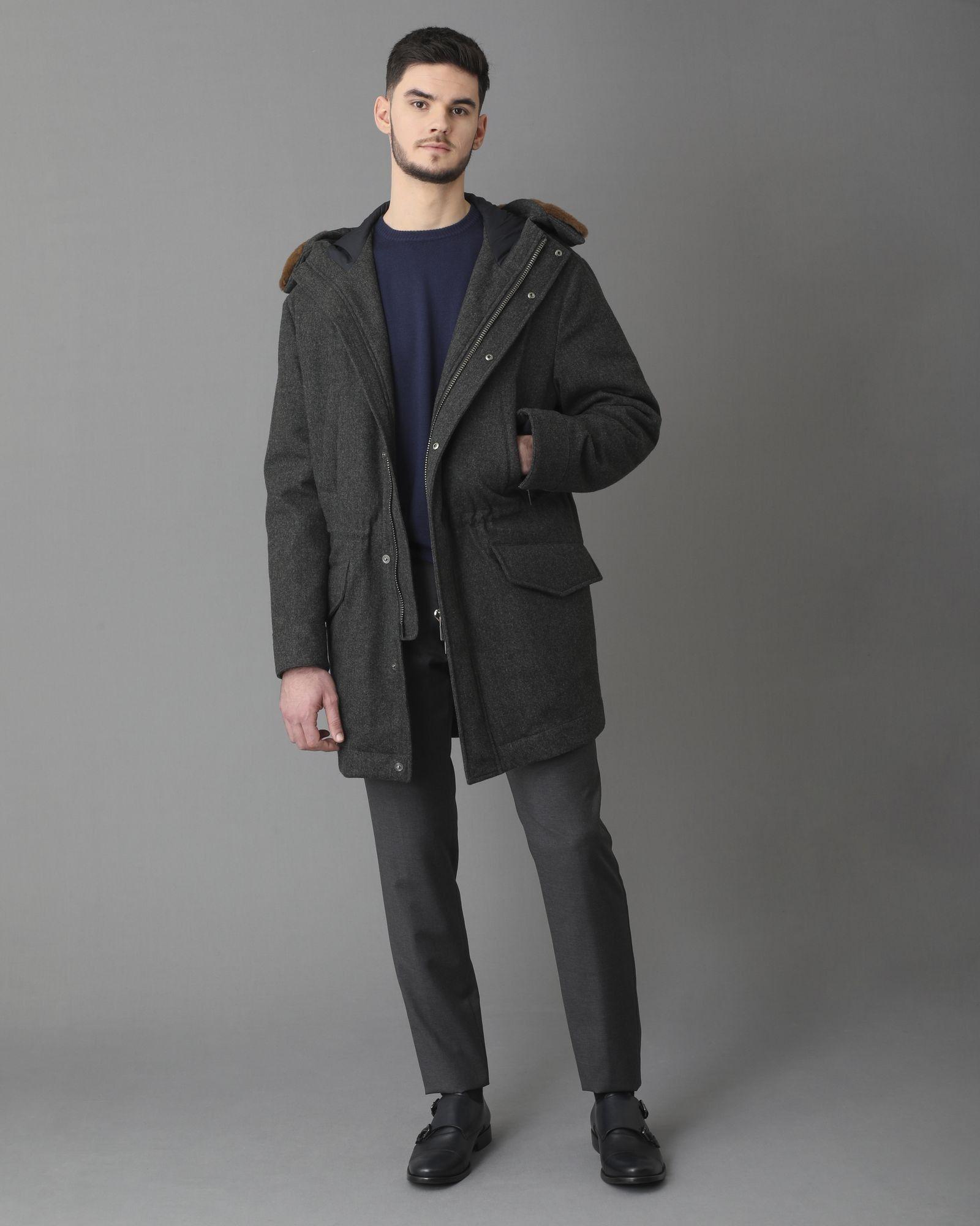 Pantalon tailleur en laine gris chiné Lardini