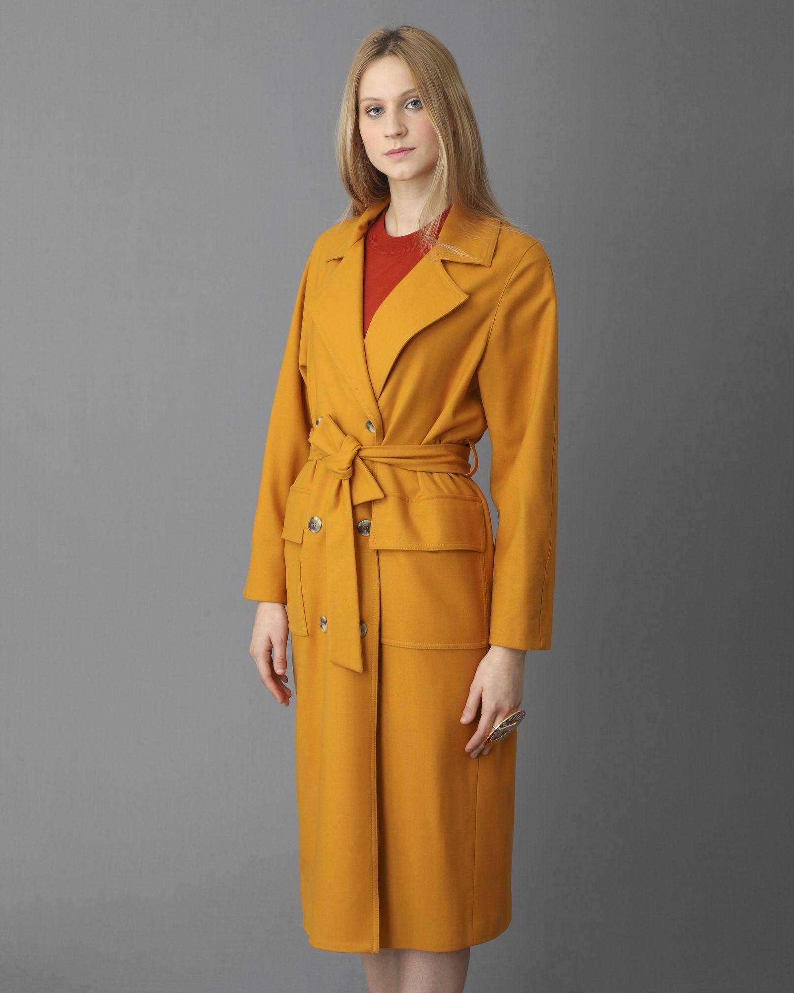 Trench coat en laine jaune moutarde Momoni