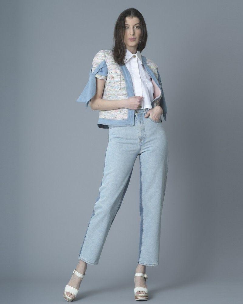 Veste en tweed multicolore et jean bleu Edward Achour