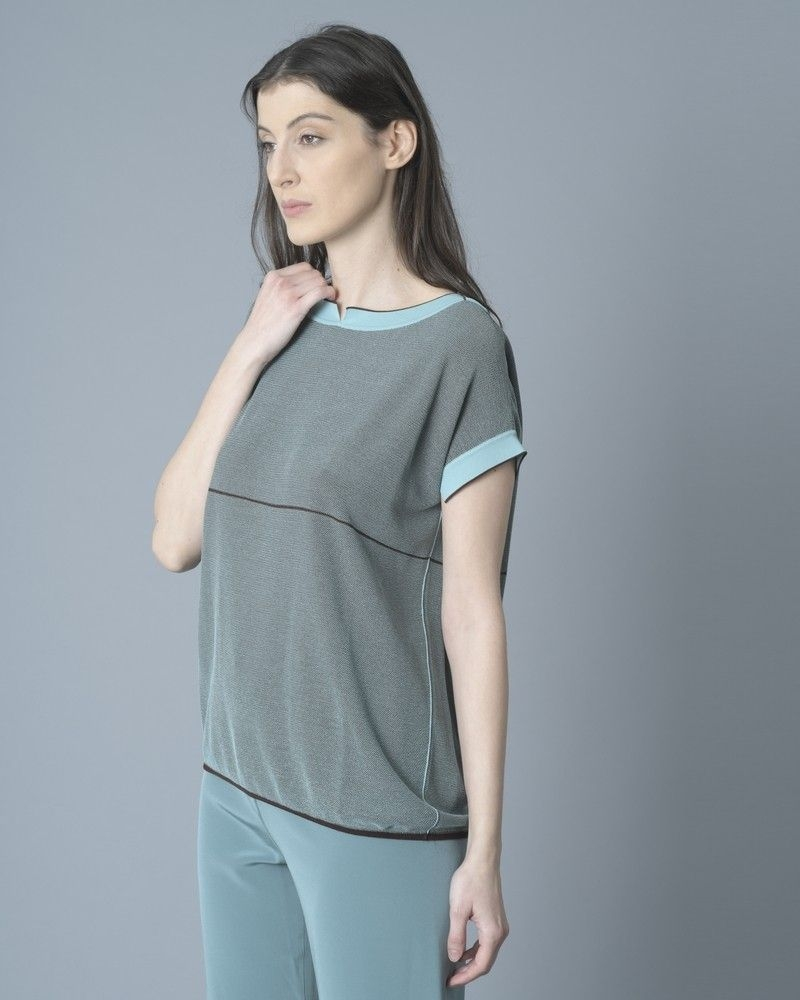 T-shirt en maille stretch turquoise She's So