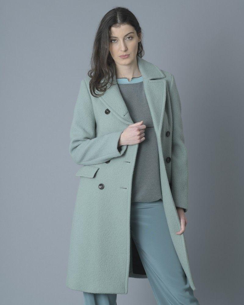 Manteau en laine vert d'eau à double boutonnage Palto