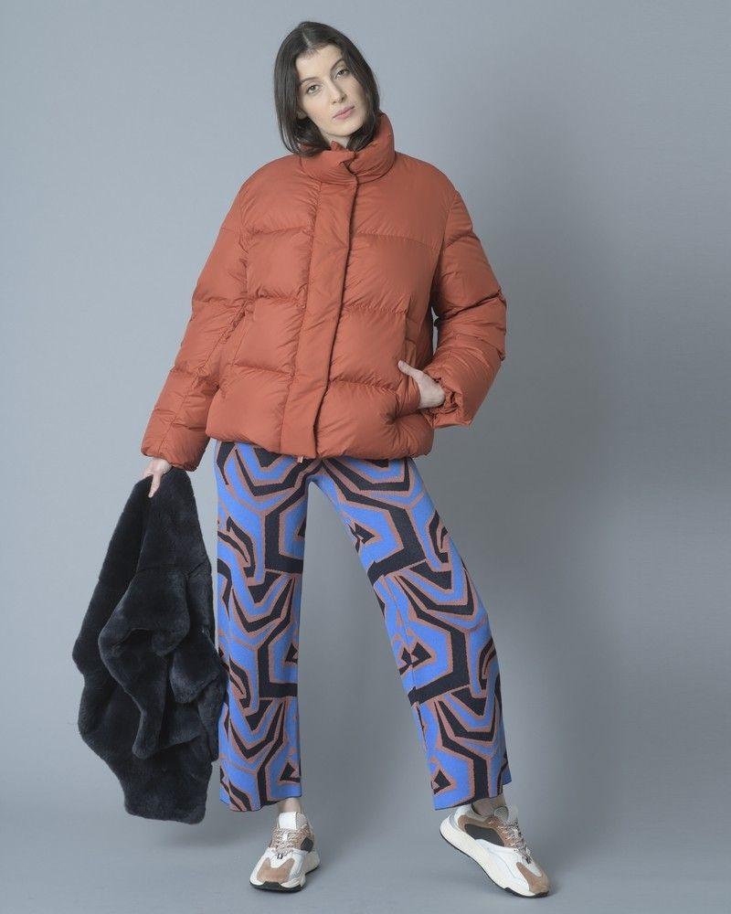 Pantalon palazzo imprimé géometrique bleu, noir et marron Tous les jours