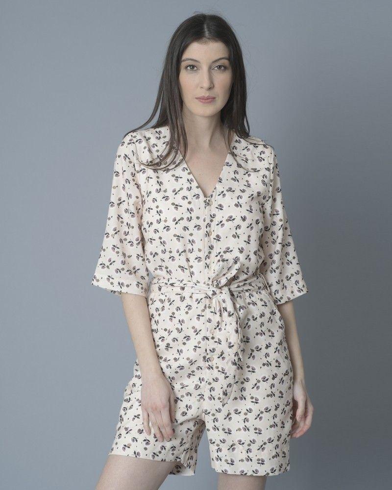 Combi-short beige à motifs fleuris SVNTY
